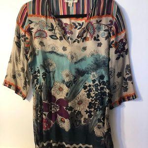 100% Silk Sheer Colorful Blouse